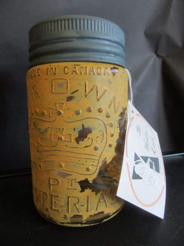 Vintage jar - mustard colour